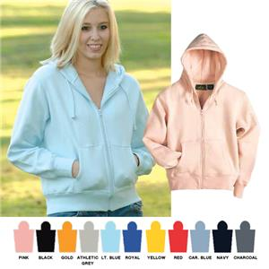 Vos Ladies Cropped Zip-Front Hooded Sweatshirts