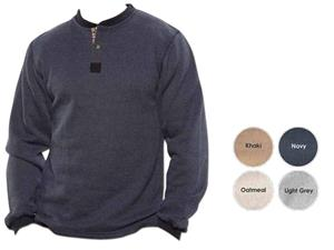 Vos 2 Buttons Henley Nubby Fleece Pull Overs
