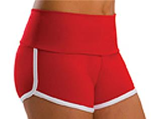Low Rise Roll Top Bright Red Cheerleaders Shorts