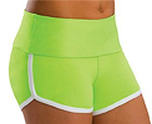 Low Rise Roll Top Lime Green Cheerleaders Shorts