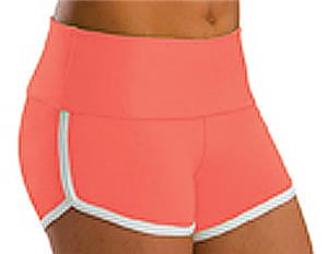 Low Rise Roll Top Sunset Coral Cheerleaders Shorts