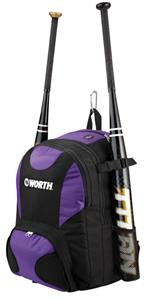 Worth Baseball/Softball Backpack Purple Bat Bag