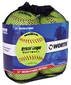 "Worth 12"" Official League Dura-Hyde Softballs 4 Pk"
