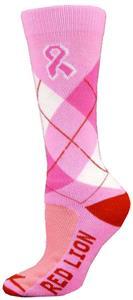 Red Lion Cancer Pink Ribbon Argyle Socks (1-Pair)