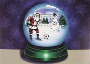 Santa Snow Globe Soccer Ball Greeting Cards