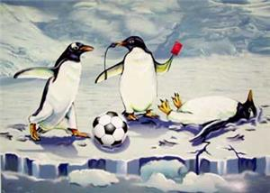 Penguin Red Card Soccer Greeting Cards
