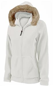 Charles River Womens Faux Fur Trim Fleece Hoodie