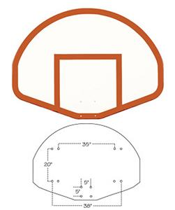 "Fan-Shaped 39""x54"" Fiberglass Basketball Backboard"