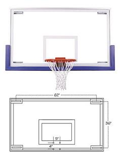 Unbreakable Short Glass Basketball Backboard 42x72