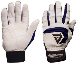 Akadema White/Navy Professional Batting Gloves
