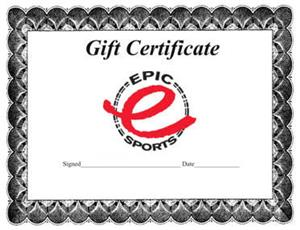 Epic Sports Gift Card Certificate
