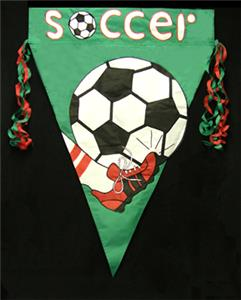 Soccer Flag-Green Background -unique soccer gifts