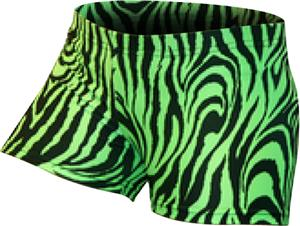 Gem Gear Green Compression Zebra Prints Shorts