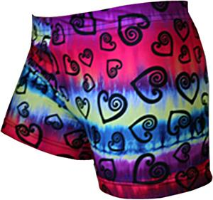 Gem Gear Tie Dye Compression Hearts Print Shorts