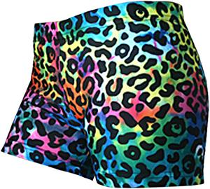 Gem Gear Tie Dye Compression Leopard Print Shorts