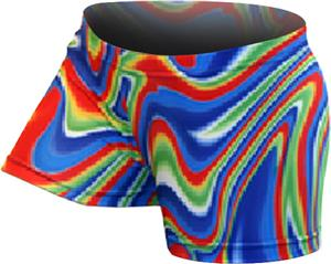 Gem Gear Compression Red & Blue Aurora Shorts
