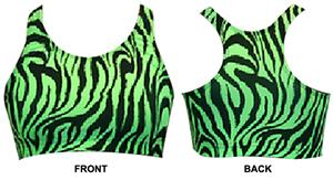 Gem Gear Green Zebra Racer Back Sports Bra