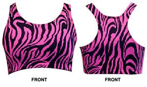 Gem Gear Pink Zebra Racer Back Sports Bra