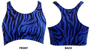 Gem Gear Royal Zebra Racer Back Sports Bra