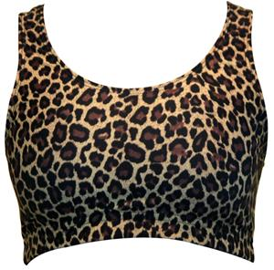 Brown Leopard Racer Back Printed Sports Bra