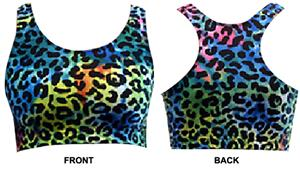 Gem Gear Tie Dye Leopard Racer Back Sports Bra