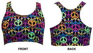 Gem Gear Neon Peace Signs Racer Back Sports Bra