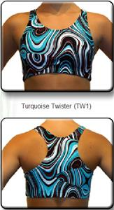 Gem Gear Turquoise Twister Racer Back Sports Bra