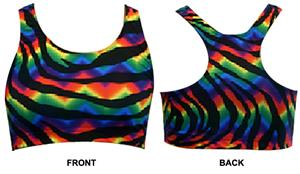 Gem Gear Tie Dye Zebra Racer Back Sports Bra