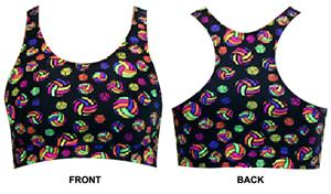 Gem Gear Volleyballs Racer Back Sports Bra