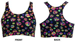 Multicolor Volleyballs Racer Back Sports Bra