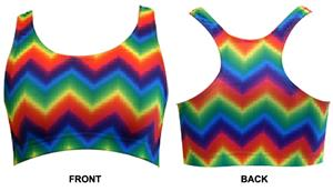Gem Gear Tie Dye Zig Zag Racer Back Sports Bra