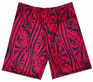 Fit 2 Win Miami Crazy Red Art Compression Shorts