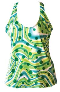 Fit 2 Win Isabelle Green Swirl Sports Tank