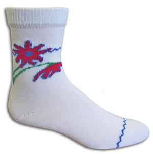 Closeout 3/4 White Flower Socks PAIR