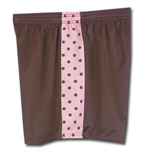 Fit 2 Win Daisy Polka Dot Brown Pink Mesh Shorts