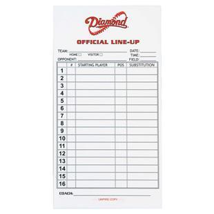 Diamond Softball & Baseball Lineup Cards