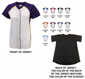 Womens Pulse Short Sleeve Faux Softball Jersey