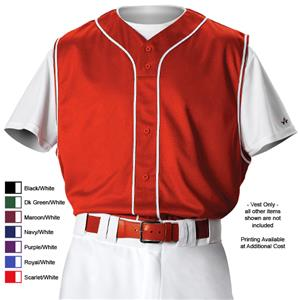 Alleson PROFVB Adult Full Front Baseball Vests