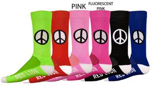 Red Lion Imagine Peace Sign Crew Socks - C/O