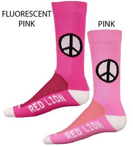 Red Lion Imagine Peace Sign Pink Crew Socks