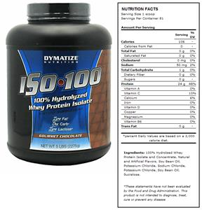 DYMATIZE ISO-100 Chocolate Whey Protein - 5 lbs
