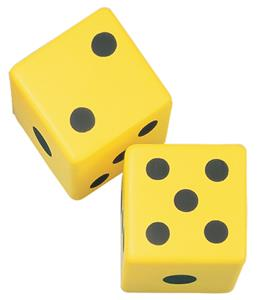 "Champion Sports 6"" Yellow Coated Foam Dice (Pair)"