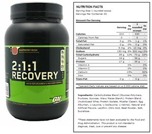 2:1:1 Recovery Raspberry Post-Workout Supplement