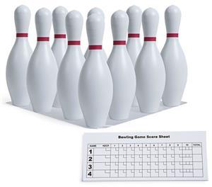 Champion White Plastic Bowling Pin Set & Score Pad