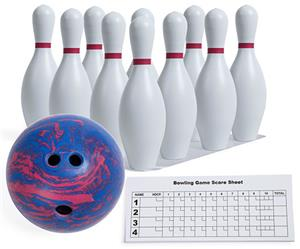 Champion Sports Plastic Bowling Pin Amp 5lb Ball Set
