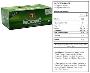 Carb Boom Energy Gel - Apple Cinnamon 24pk