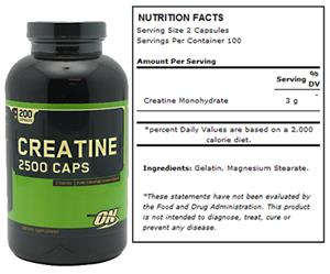 Optimum Nutrition Creatine 2500mg 200 Caps