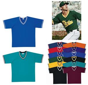 Heavyweight V-Neck Baseball Jerseys W/Braid CO