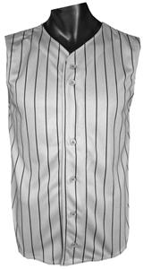Pinstripe Sleeveless Button Knit Jersey CLOSEOUT