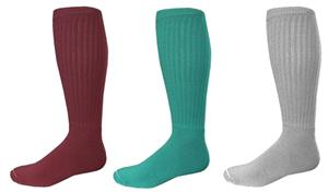 Solid Ribbed Acrylic Soccer Socks Closeout